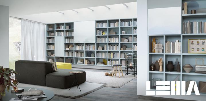 Librerie su misura poliform lema e lago for Mobili lema soggiorno